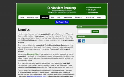Screenshot of About Page caraccidentrecovery.com - About Us | Car Accident Recovery - captured Sept. 26, 2014