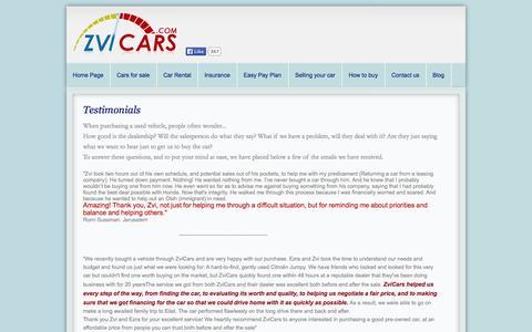 Screenshot of Testimonials Page zvicars.com - Testimonials - captured Oct. 26, 2014