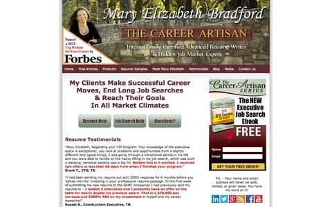 Screenshot of Testimonials Page maryelizabethbradford.com - Increase Your Salary, Enhance Your Market Appeal, and Achieve Results in Your Job Search Without Working Harder - captured Oct. 1, 2014