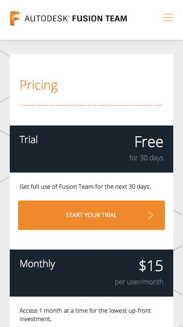 Screenshot of Pricing Page  autodesk.com - Fusion Team Pricing | Autodesk