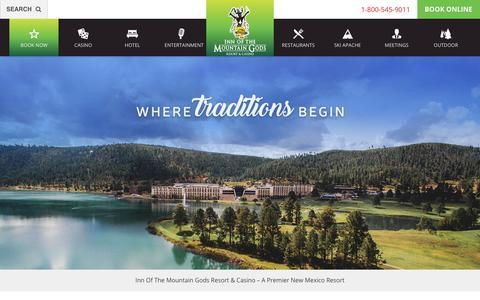 Screenshot of Home Page innofthemountaingods.com - Inn of the Mountain Gods Resort & Casino - A Premier New Mexico Resort - captured Oct. 12, 2018
