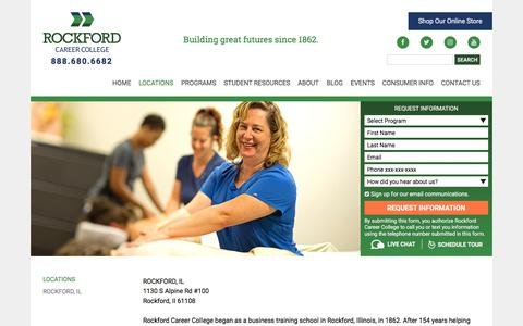 Screenshot of Locations Page rockfordcareercollege.edu - Locations | Rockford Career College - captured Sept. 21, 2018