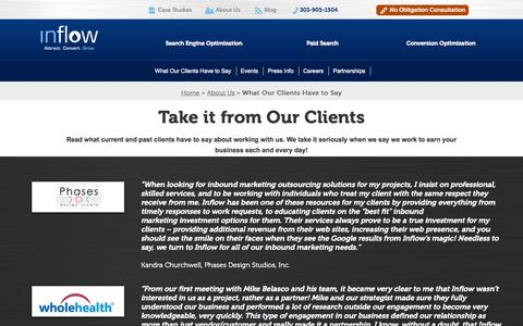 Screenshot of Testimonials Page goinflow.com - Inflow Inbound and SEO Testimonials | See What Our Clients Say - captured Sept. 23, 2014