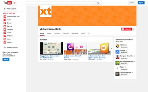 Screenshot of YouTube Page youtube.com - xt:Commerce GmbH  - YouTube - captured Oct. 27, 2014