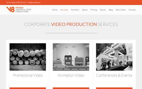 Screenshot of Services Page visual8.co.uk - Video Production Services   Visual8 Productions - captured Nov. 8, 2017