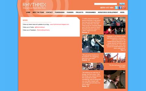 Screenshot of Press Page rhythmixmusic.org.uk - News   Welcome to Rhythmix Music - captured Oct. 7, 2014