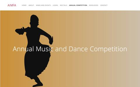 Screenshot of About Page aimfa.org - Annual Music and Dance Competition — AIMFA - captured Feb. 5, 2016