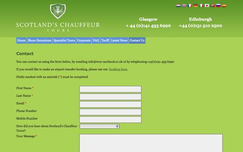 Screenshot of Contact Page tour-scotland.co.uk - Contact Form - Scotland's Chauffeur Tours - captured July 16, 2015