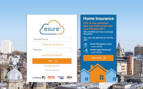 screenshot of login page esurecom log in esure captured june 1