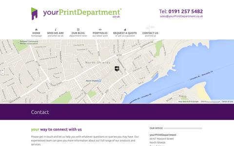 Screenshot of Contact Page yourprintdepartment.co.uk - Contact - yourPrintDepartment - captured Oct. 27, 2014