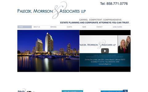 Screenshot of Home Page pma-legal.com - Probate Attorney | California | Palecek, Morrison & Associates LLP - captured Sept. 26, 2018