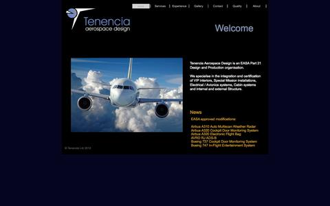 Screenshot of Home Page tenencia.co.uk - Tenencia Aerospace Design - captured Oct. 7, 2014
