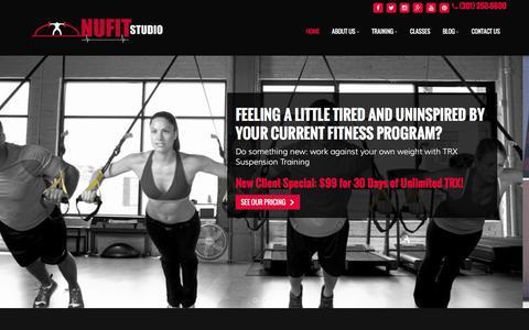 Screenshot of Home Page nufitstudio.com - Personal Training, TRX Suspension Training, Group Fitness - Ashburn, Sterling, Leesburg | NuFit Studio - captured Feb. 15, 2016