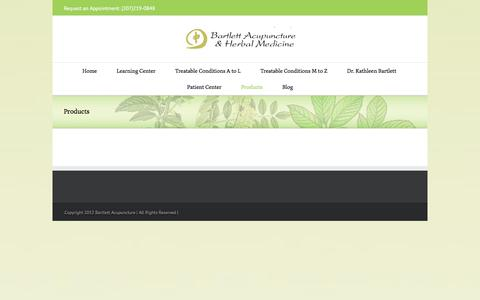 Screenshot of Products Page bartlettacupuncture.com - Flying Dragon Liniment | Bartlett Acupuncture - captured Oct. 10, 2017