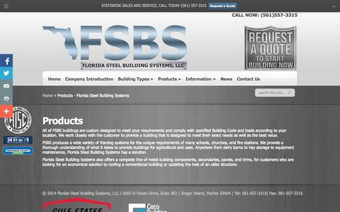 Screenshot of Products Page floridasteelbuildingsystems.com - Products - Florida Steel Building Systems - captured Sept. 30, 2014