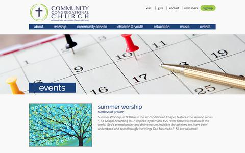 Screenshot of Signup Page communitychurch.org - Upcoming Events - captured Aug. 17, 2017