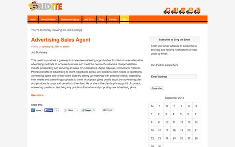 Screenshot of Jobs Page gridite.com - Jobs | Gridite - captured Sept. 30, 2014