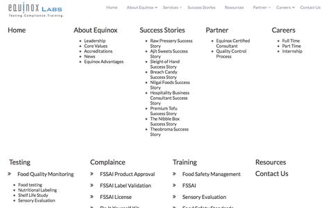 Screenshot of Site Map Page equinoxlab.com - Sitemap – EquinoxLab.com : India's Largest Water, Food, Air Testing Lab with Expertise in FSSAI Compliance - captured Jan. 29, 2016
