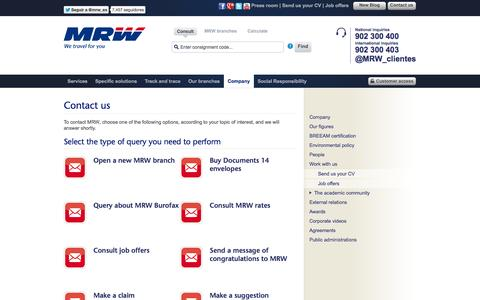Screenshot of Contact Page mrw-transporte.com - MRW - Contact us - captured Sept. 18, 2014