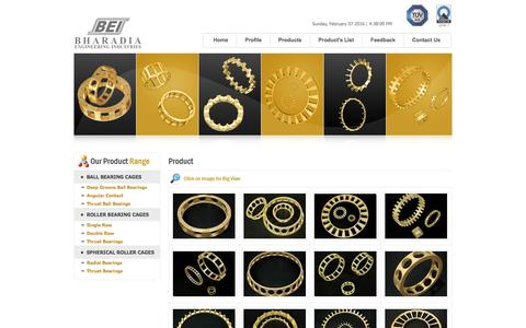 Screenshot of Products Page bearingcage.com - Bharadia Engineering Industries - The World of Brass Bearing Cages - www.bearingcage.com - Brass Bearing Cages,Bearing Cages,Cages,Brass Cages,Brass Bearing Cage,Brass cage,Bearing cage,Spherical Roller Bearing Cage,Angular Contact Bearing Cages,Thru - captured Feb. 7, 2016