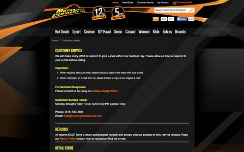 Screenshot of Support Page motorcyclecloseouts.com - Motorcycle Closeouts - captured Jan. 14, 2016