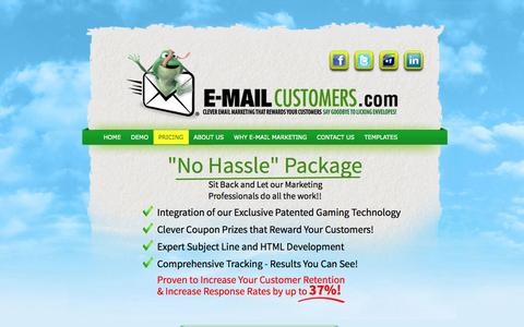 Screenshot of Pricing Page e-mailcustomers.com - E-Mail Customers.com   l   Pricing - captured Sept. 26, 2014