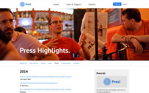 Screenshot of Press Page prezi.com - Press | Prezi - captured July 21, 2014
