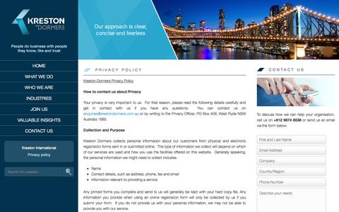 Screenshot of Privacy Page krestondormers.com.au - Privacy policy - Kreston Dormers - captured Sept. 30, 2014