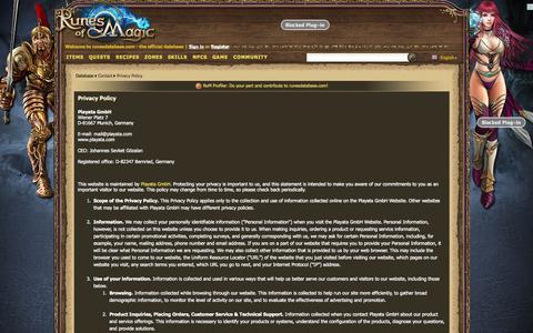 Screenshot of Privacy Page runesdatabase.com - Privacy Policy - runesdatabase.com - the official database - captured Oct. 30, 2014