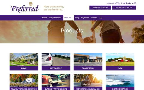 Screenshot of Products Page preferred-ins.com - Products  - Preferred Insurance - captured Sept. 29, 2018