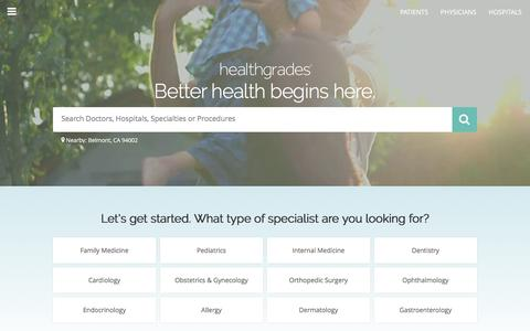 Screenshot of Home Page healthgrades.com - Healthgrades > Find a Doctor > Doctor Reviews > Hospital Ratings - captured Oct. 25, 2016