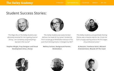 Screenshot of Testimonials Page oatleyacademy.com - Student Success Stories: - captured Oct. 25, 2018