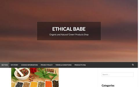 Screenshot of Home Page ethicalbabe.com - Ethical Babe | Organic and Natural 'Green' Products Shop - captured Dec. 12, 2015