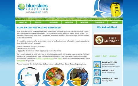 Screenshot of Services Page blueskiesrecycling.com - Recycling Services | Professional Solutions | Blue Skies Recycling - captured Sept. 30, 2014