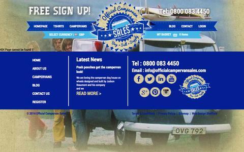Screenshot of Site Map Page officialcampervansales.com captured Sept. 23, 2014