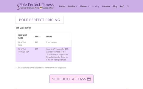 Screenshot of Pricing Page poleperfectfitness.com - Pricing - Pole Perfect Fitness - New Orleans, Louisiana - captured July 19, 2018