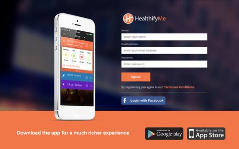Screenshot of Signup Page healthifyme.com - HealthifyMe Signup - captured July 20, 2015