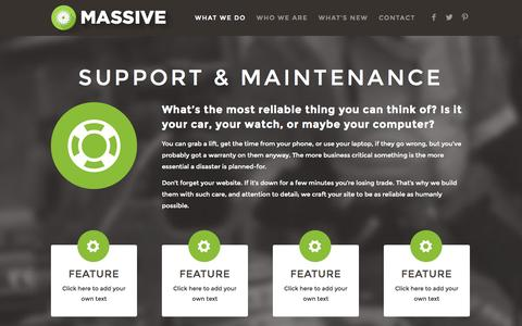 Screenshot of Support Page massive.co.uk - Website Support and Maintenance | Massive - captured Nov. 1, 2014