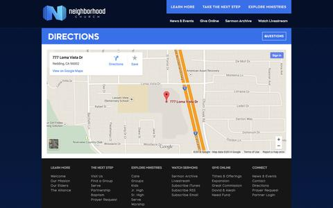 Screenshot of Maps & Directions Page neighborhood.cc - DIRECTIONS - Neighborhood Church - captured Oct. 7, 2014