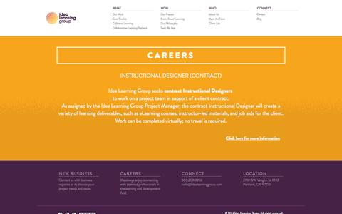 Screenshot of Jobs Page idealearninggroup.com - Idea Learning Group - captured Sept. 30, 2014