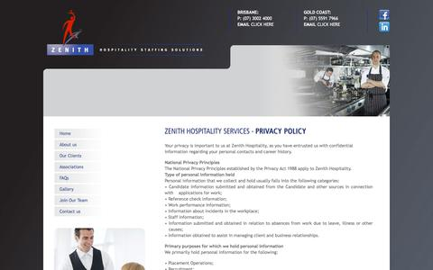 Screenshot of Privacy Page zenithhospitality.com - Privacy Policy - Zenith Hospitality - captured Nov. 12, 2017