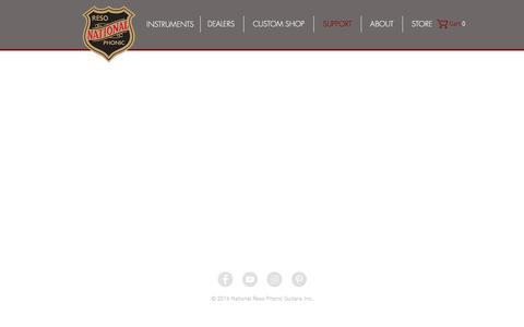 Screenshot of Support Page nationalguitars.com - National Guitars   SUPPORT - captured Jan. 30, 2017