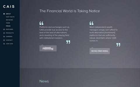 Screenshot of Press Page caisgroup.com - Press   CAIS - captured Sept. 13, 2014