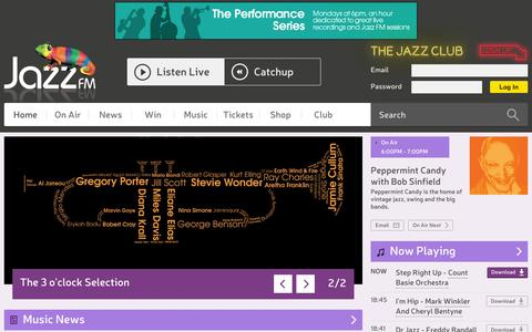 Screenshot of Home Page jazzfm.com - Jazz FM - captured Oct. 1, 2015