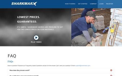 Screenshot of FAQ Page sharkmarx.com captured Sept. 17, 2014