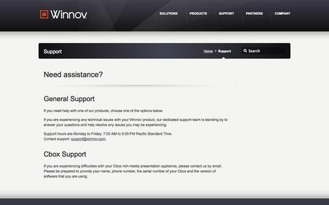 Screenshot of Support Page winnov.com - Support - Winnov - captured Oct. 26, 2014