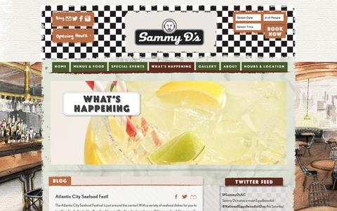 Screenshot of Blog sammyds.com - What's happening at Sammy D's Diner, Atlantic City - captured Jan. 7, 2017