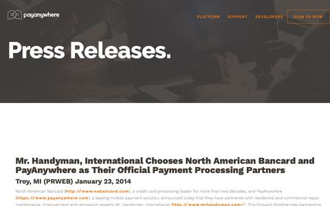 Screenshot of Press Page payanywhere.com - Mr. Handyman, International Chooses North American Bancard and PayAnywhere as Their Official Payment Processing Partners | PayAnywhere - captured Sept. 28, 2018