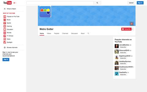 Screenshot of YouTube Page youtube.com - Metro Gutter  - YouTube - captured Nov. 3, 2014