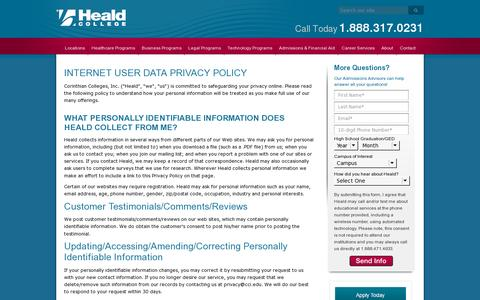 Screenshot of Privacy Page heald.edu - Heald College Privacy Policy - captured July 18, 2014
